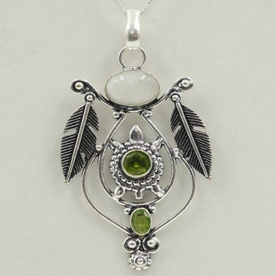 Peridot and Moon Stone Indian Turtle Pendant