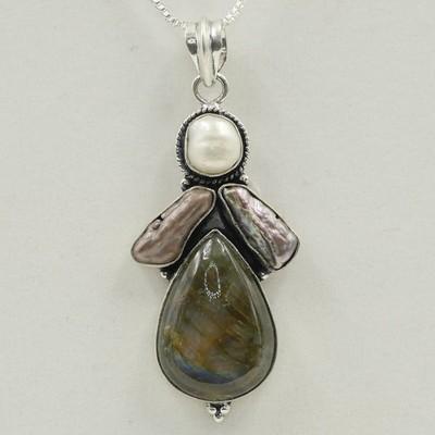 Labradorite with Pearl Pendant