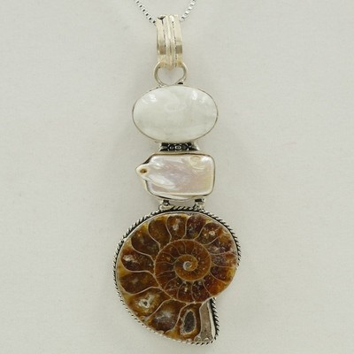 Ammonite Fossil with Moon Stone and Pearl