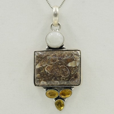 Agate, Citrine, and Moon Stone Pendant