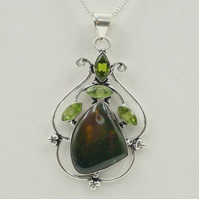 Agate with Peridot Pendant