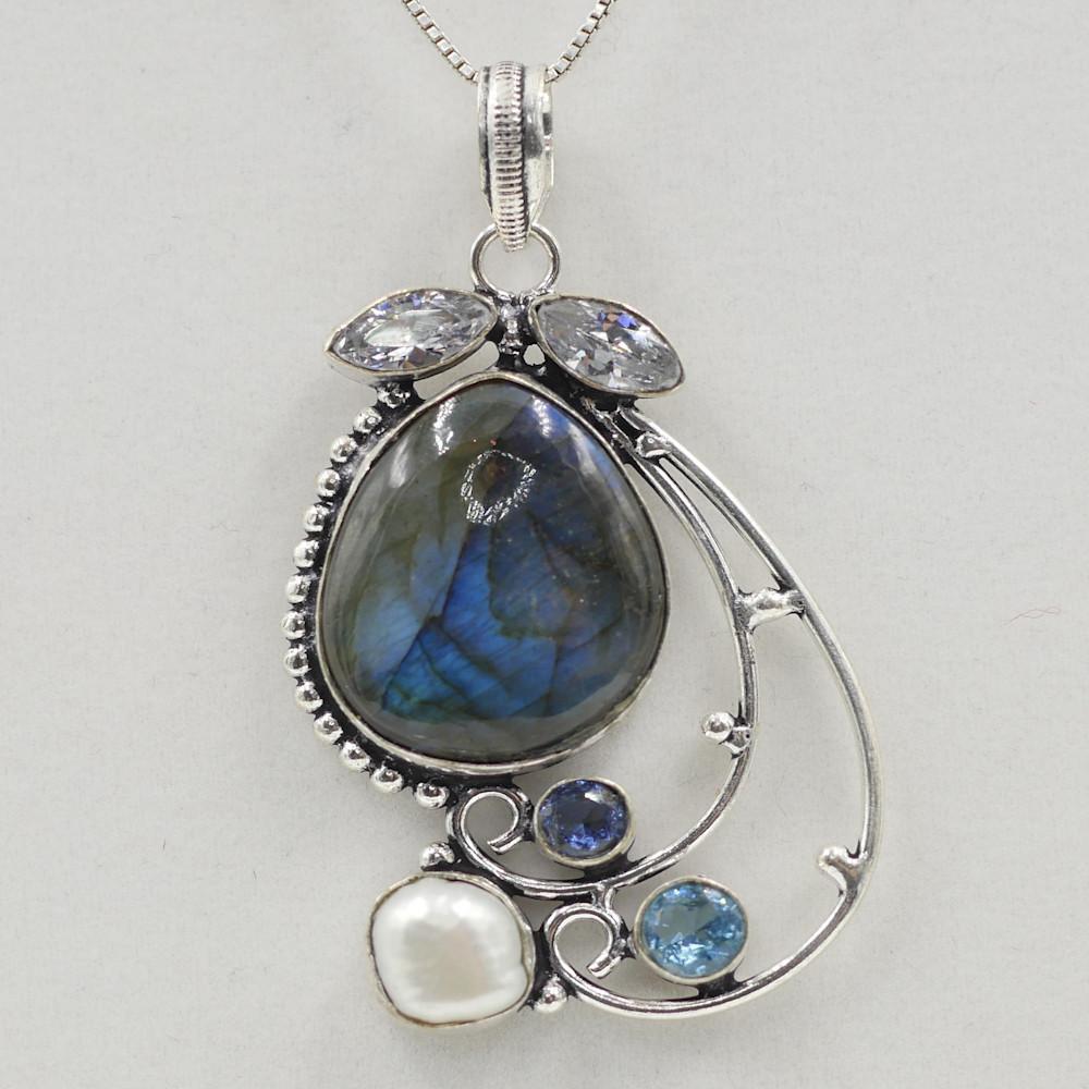 Labradorite, Aquamarine, Pearl, and Quartz Pendant