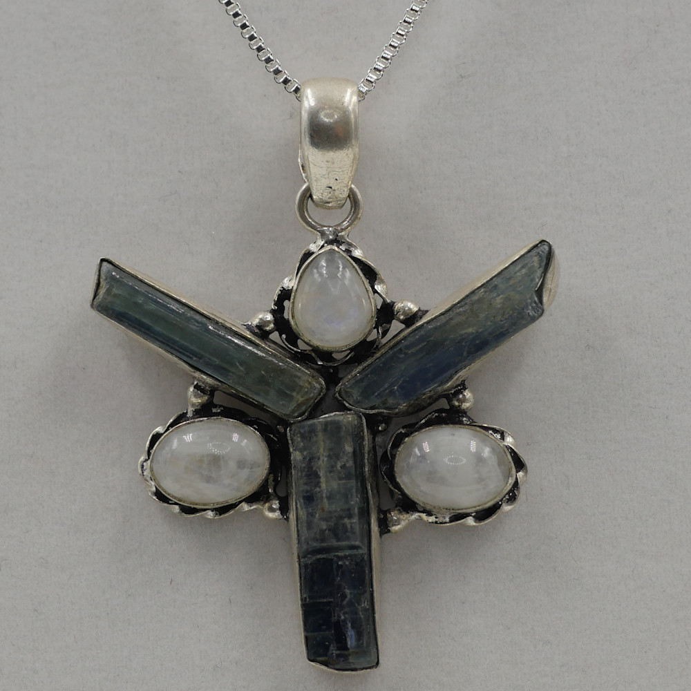 Kyanite with Moon Stone Star Pendant
