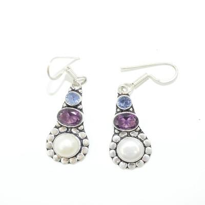 Pearl, Amethyst, and Aquamarine Earrings