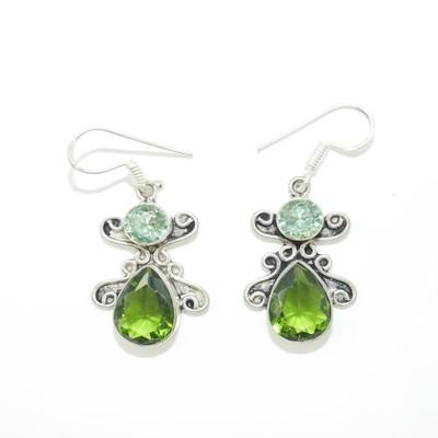 Peridot and Green Obsidian Earrings