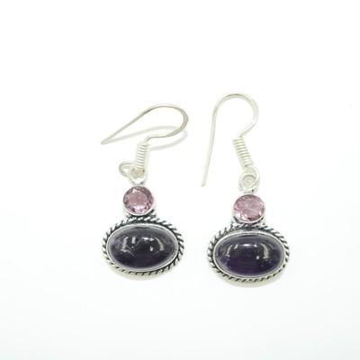 Black Obsidian and Amethyst Earrings