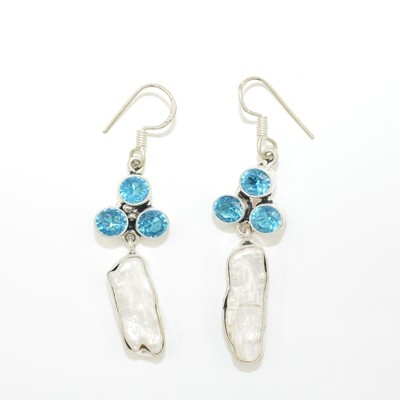Pearl and Blue Topaz Earrings
