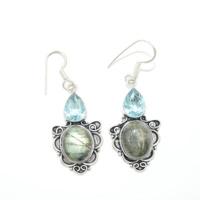 Labradorite and Aquamarine Earrings