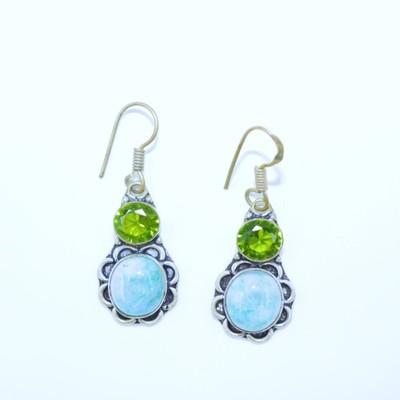 Larimar and Peridot Earrings