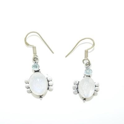 Moon Stone and Aquamarine Earrings