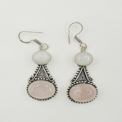 Rose Quartz and Moon Stone Earrings