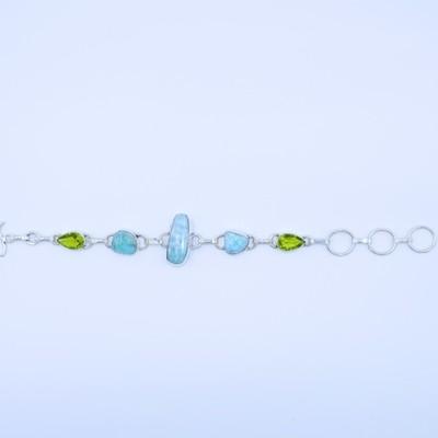 Larimar and Peridot Bracelet