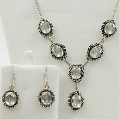 Clear Quartz Necklace & Earrings Set