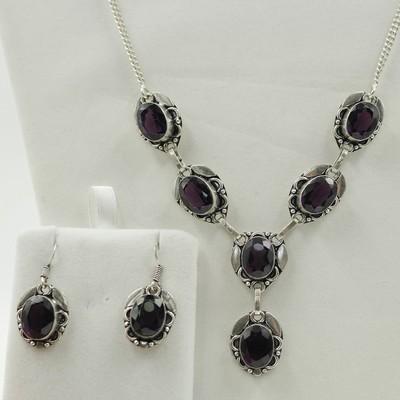 Amethyst Necklace & Earrings Set