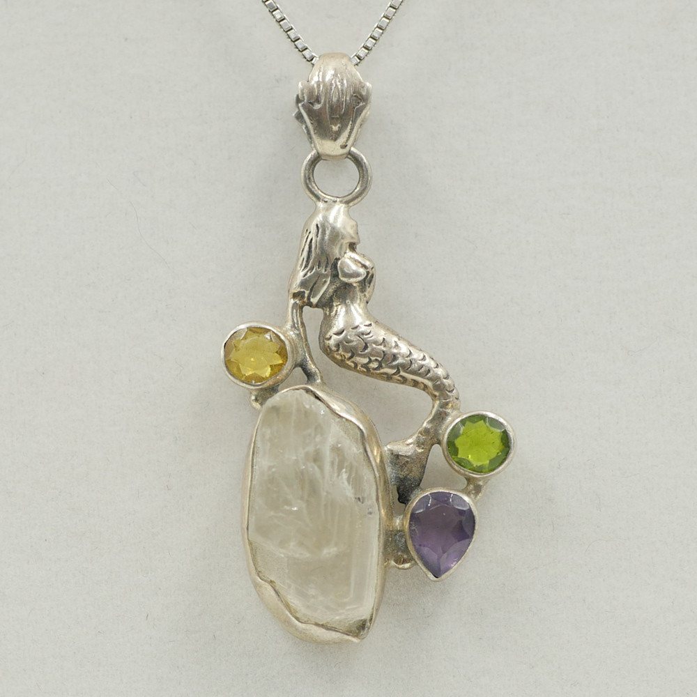 Moon Stone, Citrine, Peridot, and Amethyst Mermaid Pendant