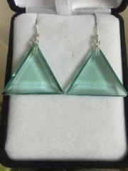 """John Of God Green Obsidian Casa Triangle Dangle Earrings  """"New"""""""