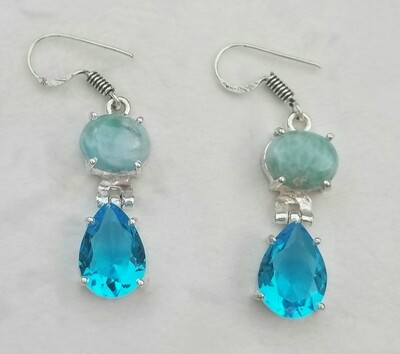 Larimar and Blue Topaz earrings