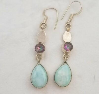 Larimar and Mystic Topaz Earrings