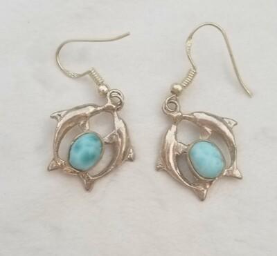 Larimar Twin Dolphin Earrings