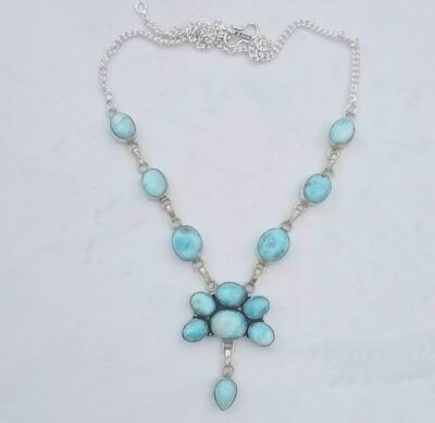 Larimar Demi Flower Necklace