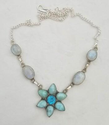 Larimar Flower Bahia & Moon Necklace