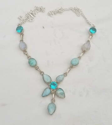 Larimar, Bahia and Moon Flower Necklace