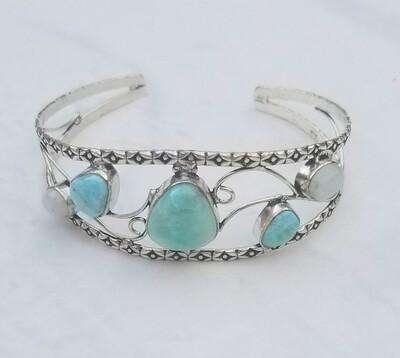 Larimar and Moonstone Bracelet