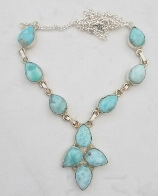 Larimar 4 drop Flower Necklace