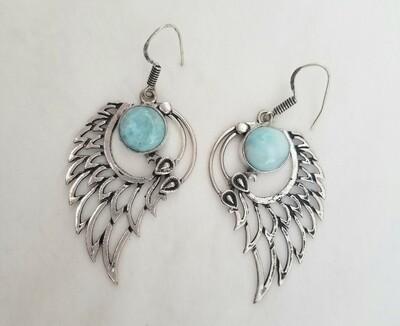 Larimar Angel Wing Earrings