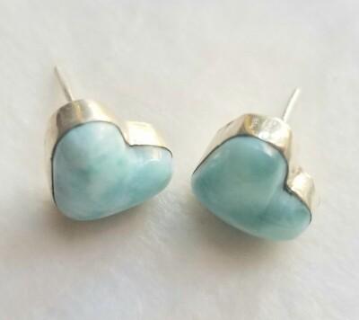 Larimar stud heart earrings