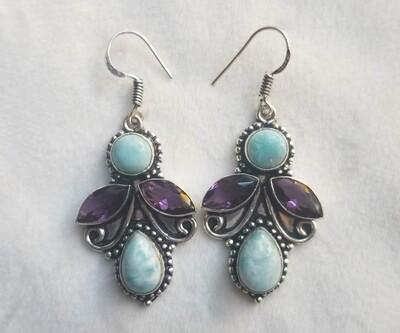 Larimar & Amethyst earrings