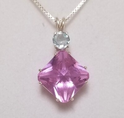 Ruby Lavender Magician with Blue Topaz