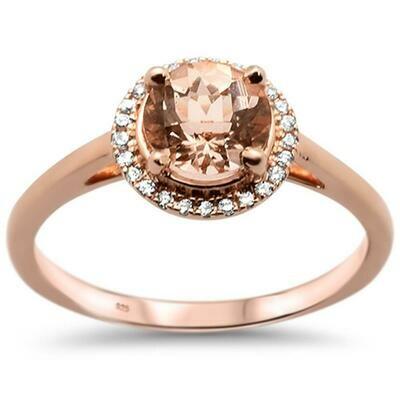 Elegant Round 1 carat Round Halo Morganite & Diamonds 14k Rose Gold