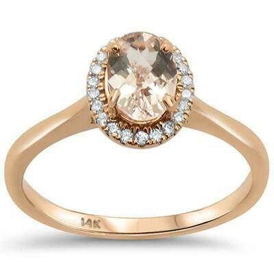 Elegant Oval .8 carat Halo Morganite & Diamonds 14k Rose Gold