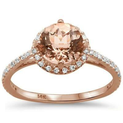 Stunning Round 1.33 carat Round Morganite & Diamonds 14k Rose Gold