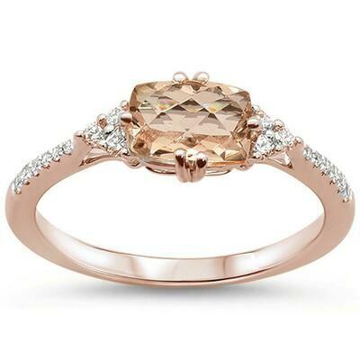Victorian 1 carat Cushion Morganite & Diamonds 14k Rose Gold
