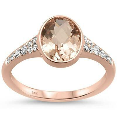 Gold Trim 1.63 carat Oval Morganite & Diamonds 14k Rose Gold