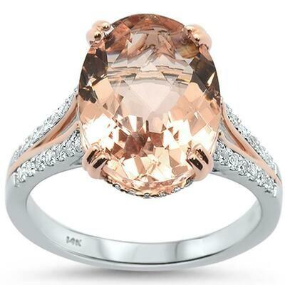 Massive Two Tone 5 carat Morganite & Diamonds 14k white & Rose Gold