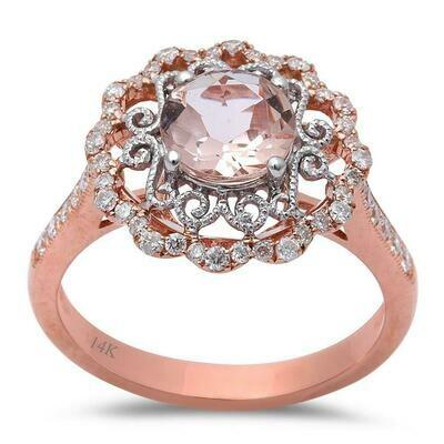 Lace Round 1.48 Morganite & Diamonds 14k Rose Gold
