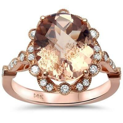Vintage Oval 4.7 carat Morganite & Diamonds 14k Rose Gold