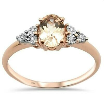 Angel Wings .8cts 14k Rose Gold Oval Morganite Diamond Ring