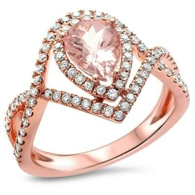 Twist Band 1.36 carat Halo Morganite & Diamonds 14k Rose Gold