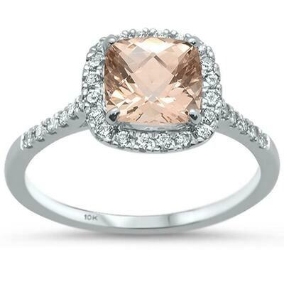 White Gold Square 1.6 carat Morganite & Diamonds 14k White Gold