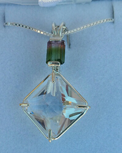 Clear Quartz Magician with Bi-Color Tourmaline