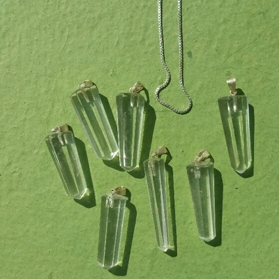 *NEW* Blessed At Casa Waterfall Clear Quartz Small Crystal Points On Sterling Silver Chain