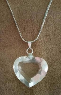 *NEW* Blessed Waterfall Faceted Clear Quartz Heart Pendant On Sterling Chain - Gorgeous!