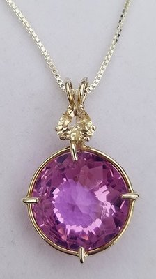 Ruby Lavender Radiant Heart with Clear Quartz