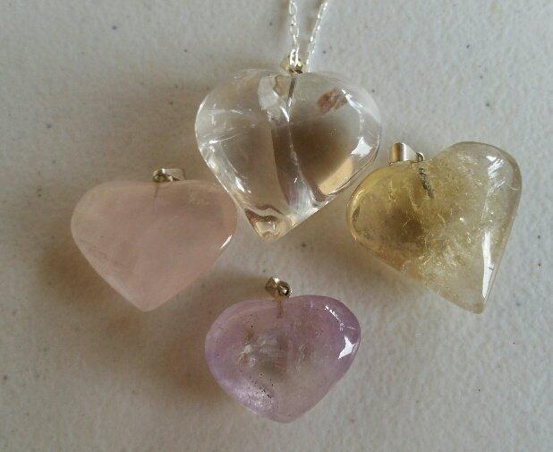 Blessed Assorted Quartz Heart Pendants On Chain *NEW*
