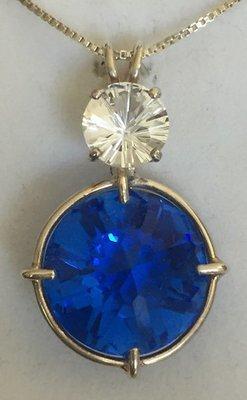 Siberian Blue Radiant Heart with White Topaz