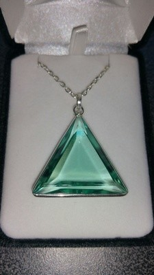 *NEW* XL Blessed Green Obsidian Silver Trim Casa Triangle  Pendant On Chain